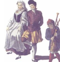 18th century painting of a Galician wedding in the city of Tui, where the groom and the piper appear wearing kilts